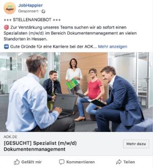 Facebool Stellenanzeige